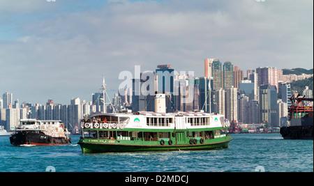 Star Ferry dans le port de Victoria de Hong Kong Banque D'Images