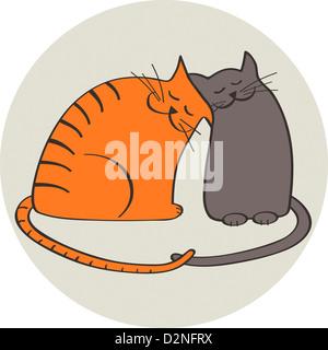 Deux chats dans l'amour, illustration Banque D'Images