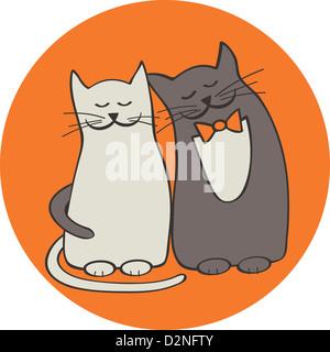 Deux chats romantique, illustration Banque D'Images