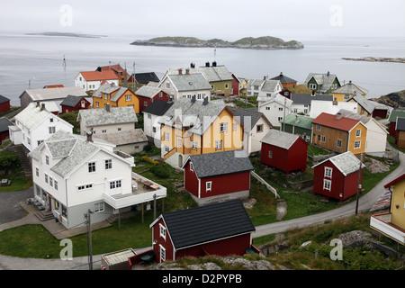 Une fois un petit village de pêcheurs sur l'île d'Ona, cabines d'été maintenant, Ona, Sandoy, Norvège Banque D'Images