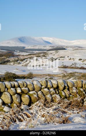 La flotte de Cairnsmore en hiver la neige, d'Knocktinkle Point, Dumfries et Galloway, Écosse, Royaume-Uni, Europe Banque D'Images