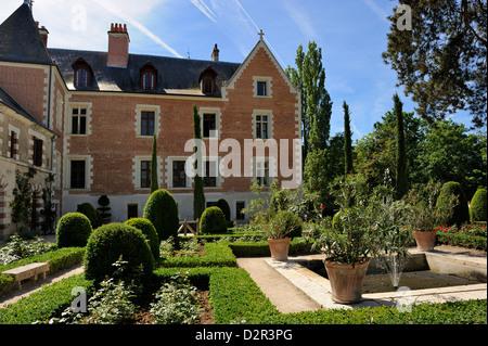 Jardin de style Renaissance, Clos Lucé, Parc Leonardo da Vinci, Amboise, Indre-et-Loire, Loire, Centre, France Banque D'Images