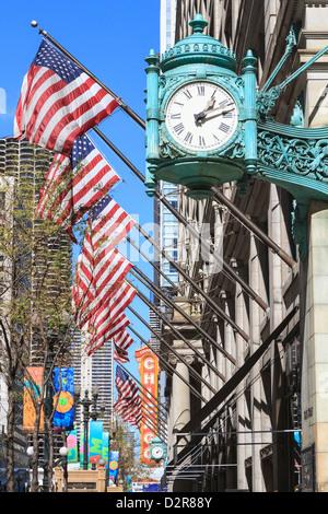 Marshall Field Building Réveil, State Street, Chicago, Illinois, États-Unis d'Amérique, Amérique du Nord Banque D'Images
