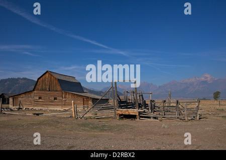 Grange, John et Bartha Moulton Homestead, Mormon Row Historic District, Grand Teton National Park, Wyoming, USA Banque D'Images