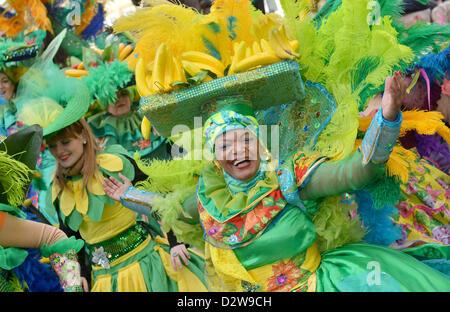 S'habille les participants au carnaval de samba danse dans la place du marché de Brême, Allemagne, 02 février 2013. Banque D'Images