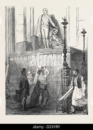 Les préparatifs POUR LES FUNÉRAILLES DU DUC DE WELLINGTON, À ST. PAUL'S CATHEDRAL: LE MONUMENT NELSON, 1852 Banque D'Images