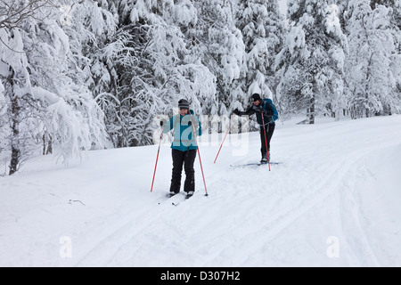 Les skieurs de fond dans le Parc National de Pallas-Yllästunturi près de Yllas Laponie finlandaise en Finlande Banque D'Images
