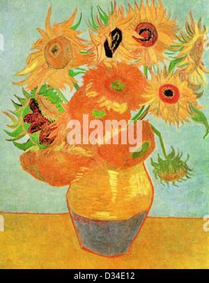 Vincent van Gogh, Still Life Vase avec douze Tournesols . 1889. Le postimpressionnisme. Huile sur toile. Philadelphia Banque D'Images