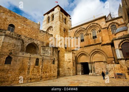 Vue de l'entrée principale à l'église de la Saint Sépulcre dans la vieille ville de Jérusalem Banque D'Images