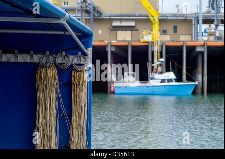 Bateaux de pêche commerciale de décharger leurs prises de poissons frais à une usine de transformation, Homer, Alaska, Banque D'Images