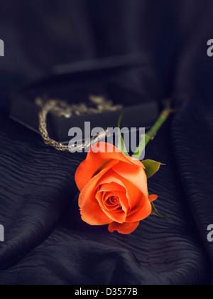 L'un rose sur la soie noire et boîte de bijoux Banque D'Images
