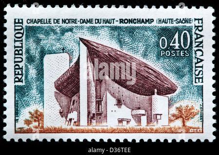 Chapelle Notre Dame du haut, Ronchamp, timbre-poste, France, 1964 Banque D'Images