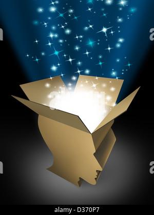Puissance de l'esprit et l'intelligence puissante avec une boîte ouverte dans la forme d'une tête humaine s'illumina Banque D'Images