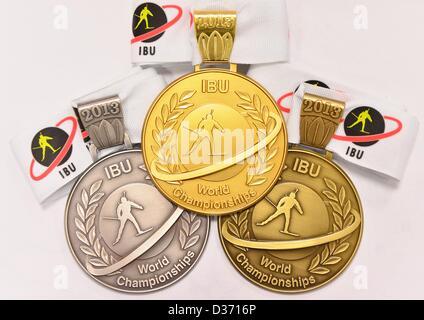 11.02.2013. Prix: à Nove Mesto, en République tchèque. L'argent, l'or et de bronze pour les Championnats du monde Banque D'Images