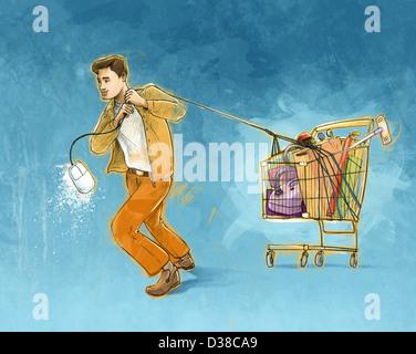 Concept de l'homme illustration tirant panier représentant magasinage en ligne Banque D'Images