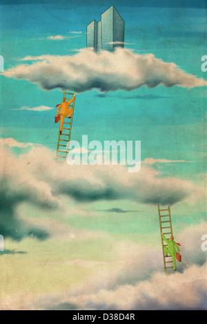 Image d'illustration d'hommes d'entreprise d'escalade dans le ciel Banque D'Images