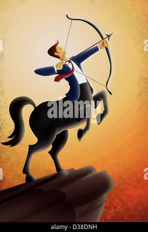Image d'illustration de l'homme d'affaires visant l'arc et de la flèche contre le ciel Banque D'Images