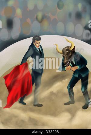 Image d'illustration de tissu rouge à Bull Banque D'Images