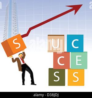 """Représentation d'illustration d'un immeuble d'affaires le mot """"succès"""" avec des cases Banque D'Images"""