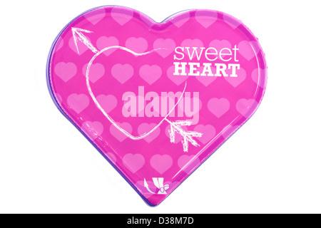 En forme de coeur rose sweet heart boîte de chocolats Banque D'Images