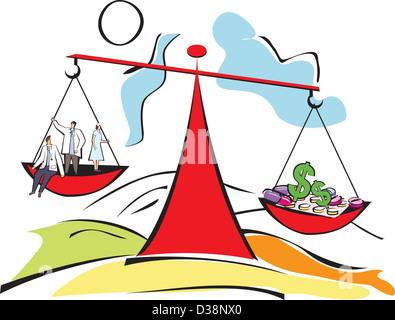 Conceptual image représentant les médecins et les frais médicaux avec un équilibre Banque D'Images