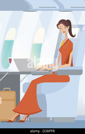 Businesswoman working on a laptop in an airplane