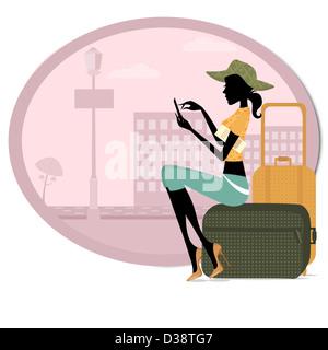 Femme assise avec ses bagages et l'utilisation d'un téléphone mobile