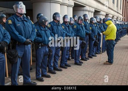 """Les membres de l'Union protester """"droit de travailler"""" la législation au Michigan State Capitol Banque D'Images"""