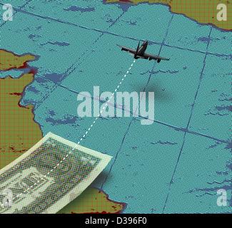 Avion avec du papier-monnaie et carte du monde représentant les voyages d'affaires Banque D'Images