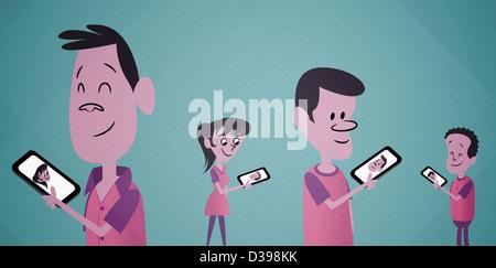 Personnes qui interagissent sur téléphone cellulaire sur l'arrière-plan de couleur représentant le concept de vidéo Banque D'Images