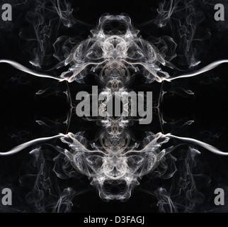 Créé numériquement motif symétrique de fumée tourbillonnante et Banque D'Images