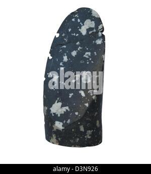 L'échantillon de roche dans un forage core il est isolé sur un fond noir Banque D'Images