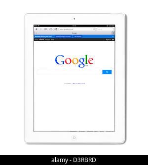 Recherche Google UK vue sur un 4e génération iPad blanc, UK Banque D'Images