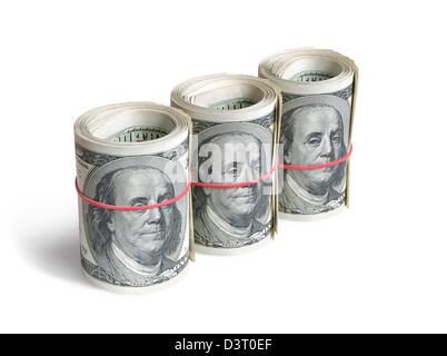 Rouleaux de dollars américains isolés.