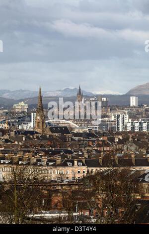 Voir à l'Ouest sur la ville de Glasgow à partir de Queen's Park en Ecosse, Royaume-Uni Banque D'Images