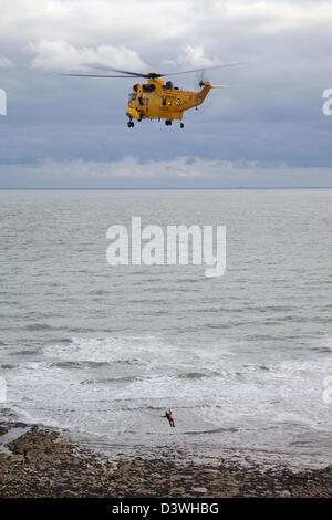 RAF Royal Air Force Sea King d'hélicoptères de recherche et de sauvetage Banque D'Images