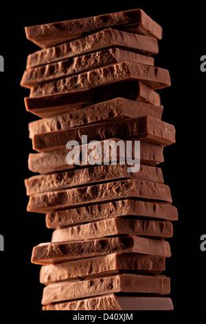 Morceaux de chocolat au lait Banque D'Images