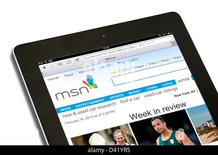 Le site Web MSN vue sur un iPad 4 Banque D'Images
