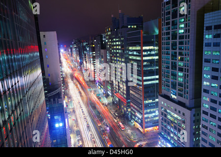 Quartier de Gangnam de Séoul, en Corée du Sud. Banque D'Images