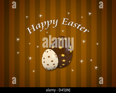 Joyeuses Pâques carte avec deux oeufs en chocolat décoré Banque D'Images