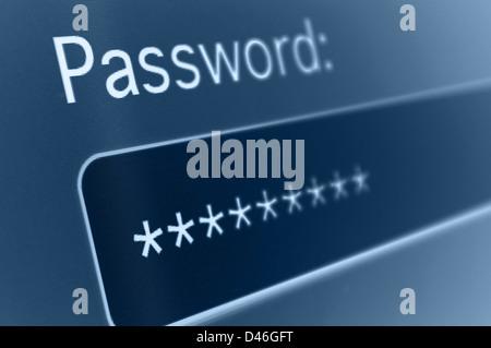 Gros plan du champ Mot de passe dans le navigateur Internet Banque D'Images