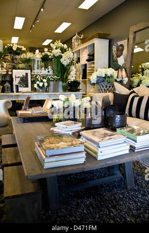 Droit d'affichage boutique homewares avec fixation d'un luxueux salon, livres, pots et seaux en étain de semences Banque D'Images