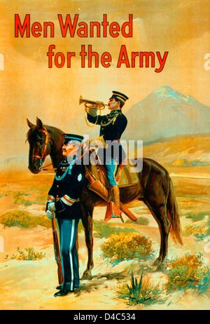 Les hommes recherchés pour l'armée américaine - affiche de recrutement de l'Armée montrant un officier debout avec Banque D'Images