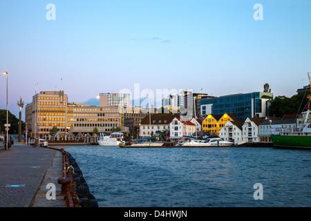 Centre de Stavanger dans la soirée, la Norvège. Banque D'Images