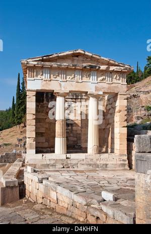 Trésor des Athéniens, Delphi, Grèce Banque D'Images
