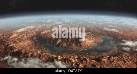 Concept de l'artiste montrant un lac d'eau liquide autour de Gale cratère sur Mars. Banque D'Images