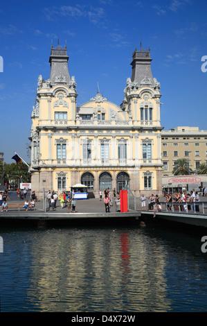 L'autorité portuaire, la Rambla del Mar, le Port Vell, Moll de Espana, Barcelone, Catalogne, Espagne Banque D'Images
