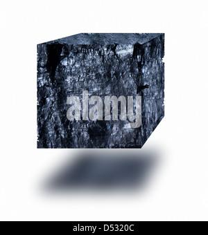 Cube de charbon flottant dans l'air sur fond blanc Banque D'Images