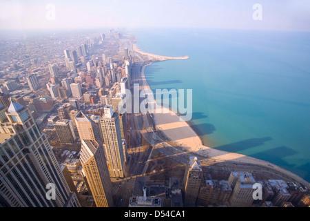 Chicago tours photographié d le 94e étage de la John Hancock Building Banque D'Images