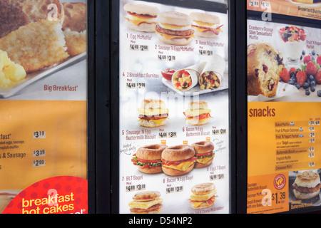 Menu de McDonald Banque D'Images